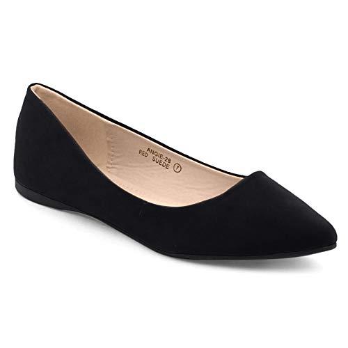 Bella Marie BellaMarie Angie-28 Women's Classic Pointy Toe Ballet Flat Shoes Black Suede 10 B(M) US (Mari Black Flight)
