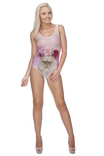 One Piece Women's Mädchen Badeanzug Body Bikini BEACH SUMMER TEENAGE Anzug MONOKINI-POOL PARTY - ROSES CAT ScPBRL