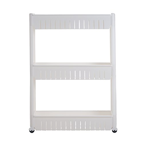 Mobile Shelving Unit Organizer with 3 Large Storage Baskets, Slim Slide Out Pantry Storage Rack for Narrow Spaces by Everyday (Roller Slides)