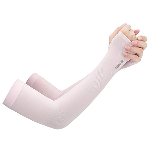Armor Sunscreen - QUICATCH Sport Arm Sleeves Cooler Outdoor UV Sun Protect Cuff Anti-Slip Basketball Armband Tattoo Cover High Elastic Quick-Drying 2PCS (Pink)