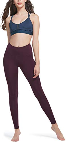 TSLA Mid/High Waist Yoga Pants with Pockets, Tummy Control Yoga Leggings, 4 Way Stretch Workout Running Tights