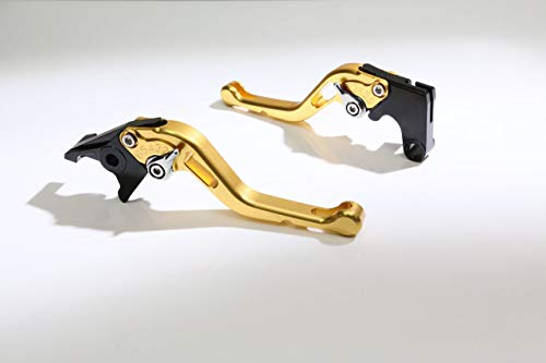Autobahn88 Motorcycle Clutch + Brake Lever Set for Triumph : Bonneville T120 (2016-2017) (Short Style : Gold+Silver/Handle+Adjuster) ()