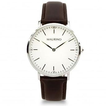 MAURINO Damen Armbanduhr Analog Quarz Leder Silber 36mm M01619