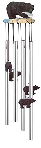 StealStreet SS-G-41634, Round Top black Bear Hanging Garden Decoration Wind Chime