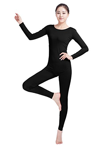 Ensnovo Womens Spandex Bodysuit Long Sleeve Scoop Neckline Footless Unitard Black,L