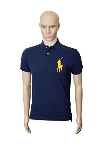 Eyelet Big Shirt - RALPH LAUREN Mens Polo Custom Fit Big Pony Mesh Shirt (L, NavyGoldPny)