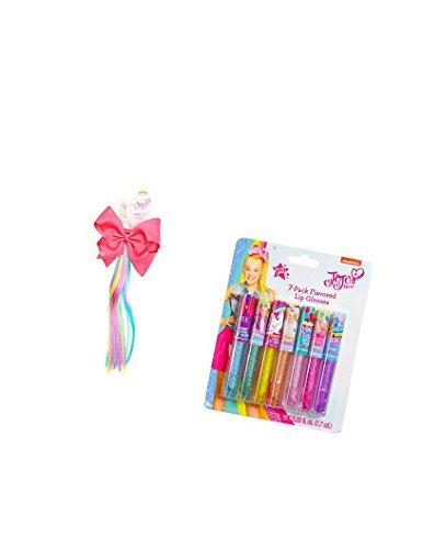 Jojo Siwa Flavored Lip Gloss and JoJo Siwa Pink Bow with Rainbow Faux Hair Ponytail