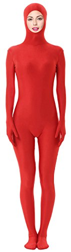 Marvoll Unisex Spandex Open Face Zentai Full Bodysuit for Kids and Adults (Small, Red) (Purple Morphsuit)