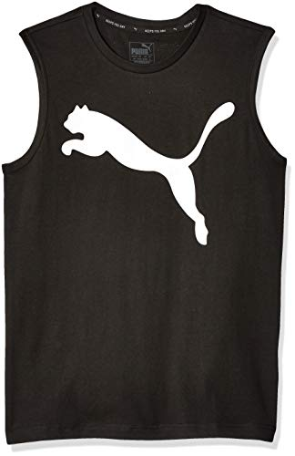 Puma Running Tee - PUMA Men's Essential NO.1 Sleeveless TEE, Cotton Black-Pure White, M