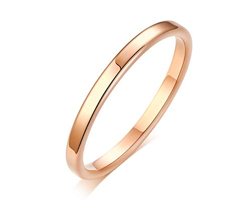 XUANPAI Unisex 2mm Narrow Simple Filled Flat Wedding Band Stacking Promise Ring Matte Polished Finish,Size 3-10