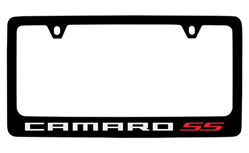 Chevrolet Camaro SS Black Coated Metal License Plate Frame Holder