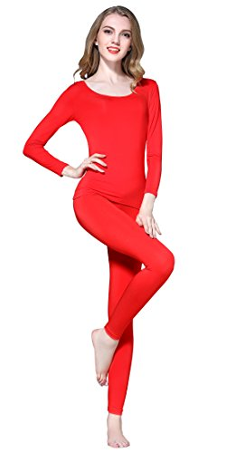 Vinconie Women Red Sexy Warm Suit Lightweight Thermal Bottoming Garment Fall -