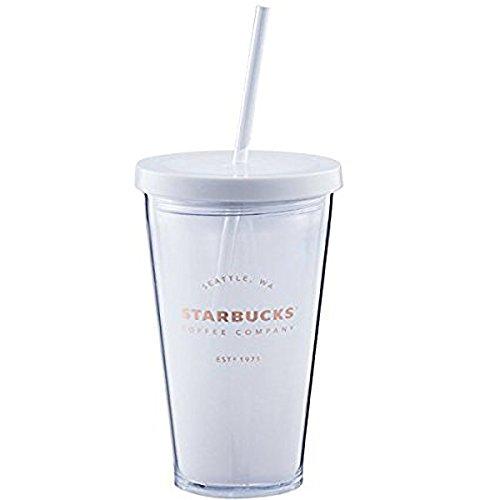 STARBUCKS 스타벅스 스타벅스 wall 텀블러 텀블러 식기 프라 스틱 스트로 로고 흰색 화이트 검정 블랙 심플 물통 커피 (클리어)