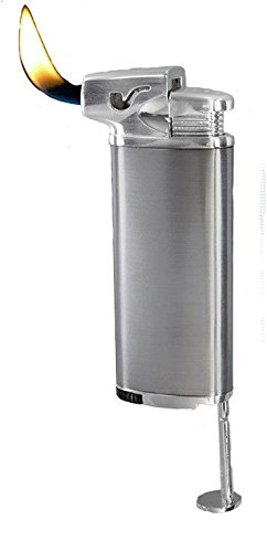 - Vector Elio Angled Flame Pipe Lighter w/Built-in Tamper (Chrome Satin)