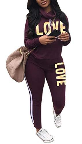 Women's Letter Print 2 Piece Outfits Jogging Suit Set Cowl Neck Long Sleeve Sweatshirt Tracksuit Set Plus Size Purple ()