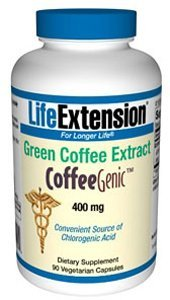 Life Extension CoffeeGenic Green Coffee Extract, 400mg per Capsule, 90 Vegetarian Capsules (Contains 50% Chlorogenic Acids)