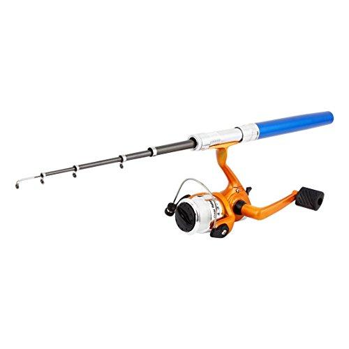 Télescopique Pen design pôle canne à pêche avec moulinet à tambour Tackle Set Bleu