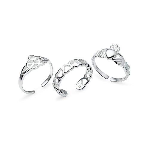 Sterling Silver Assorted Adjustable Toe Rings Jewelry Set of 3 Rings by Silverline Jewelry