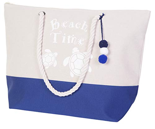 Turtle Tote Bag - Tote Beach Bag Water Resistance For Women with Top Zipper Closure, Rope Handles (Navy Turtle 2)