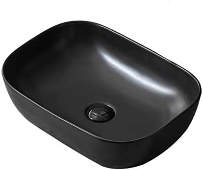 DS- バスルームの洗面台、カウンタ流域ブラック技術流域上記マットセラミック(タップ無し)単一流域、46X32.5X13.5cm 洗面ボール && (Size : 46X32.5X13.5cm)