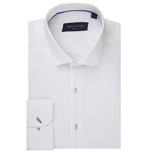 (Andrew Fezza 70811 Slim Fit Dress Shirt - Solid White - 15.5)
