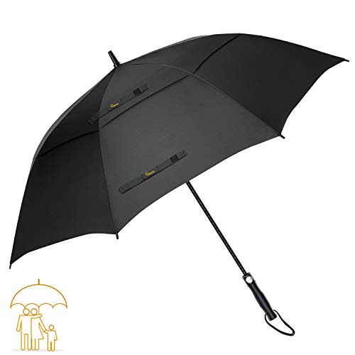 62' Double Canopy Umbrella - Heasy Golf Umbrella Windproof Large 62 Inch Automatic Open Double Canopy Vented Extra Large Stick Umbrellas for Men and Women (Black)