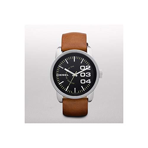 (Diesel Black Dial Tan Leather Strap Mens Watch DZ1513)