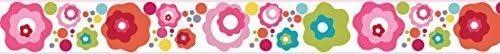 Ready Steady Bed Flower Dot Design Childrens Self Adhesive Vinyl Wallpaper Border 15cm Wide 5 Metre Long