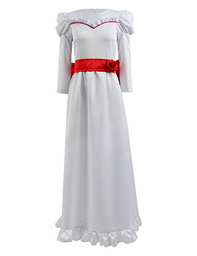 Xiao Maomi Women Long Dress Annabelle Cosplay Costume Horror Scary Horrible Movie White Clothing for Halloween (US Women-XL, White) ()