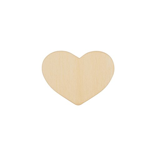 "2 Inch Wood Heart, Unfinished Wooden Heart Cutout Shape, Wooden Hearts (2"" Wide x 1/8"" Thick) - Bag of 100 (Wooden Heart Cut Out)"
