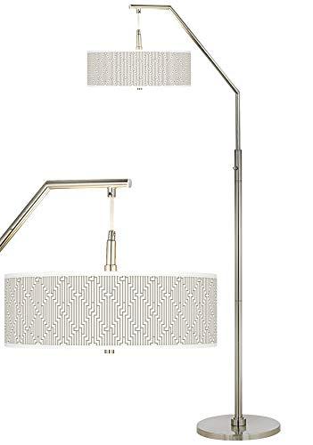 Diamond Maze Giclee Shade Arc Floor Lamp