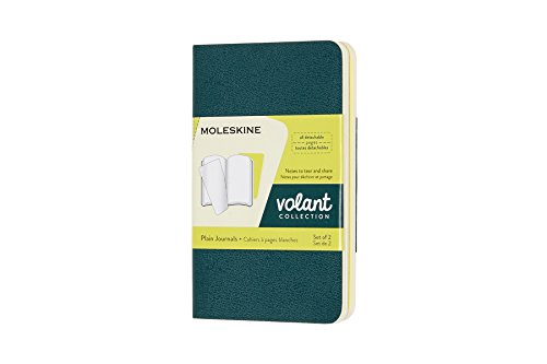 Moleskine Volant Journal, Soft Cover, XS (2.5 x 4) Plain/Blank, Pine Green/Lemon Yellow (Set of 2)