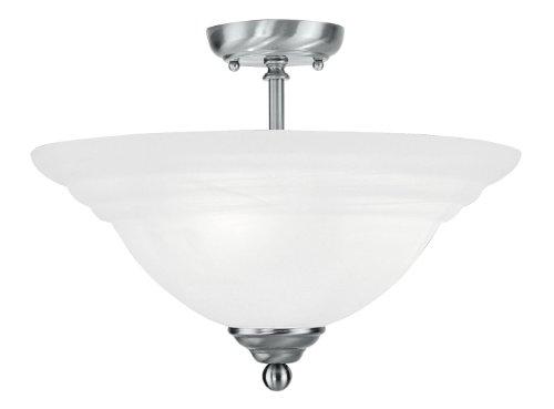 Livex Bronze Flush Mount Light Fixture (Livex Lighting 4258-91 North Port 3 Light Brushed Nickel Flush Mount with White Alabaster Glass)
