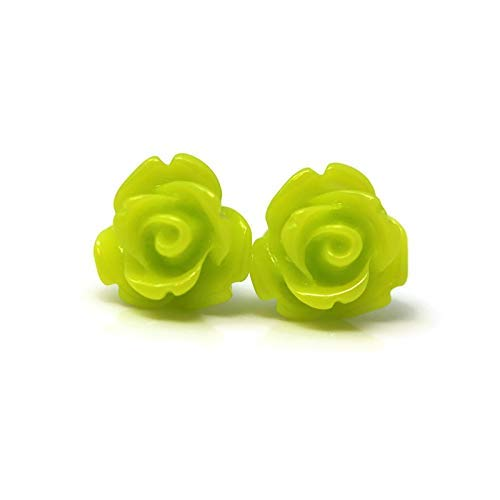 Flower Earringsr Stud Earrings Lime Green Rose Earrings Your Choice of Styles Green Rose Stud Earrings