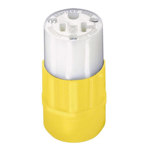 - Leviton 5369-CY 20 Amp, 125Volt, Connector, Straight Blade, Industrial Grade, Grounding, Yellow-White