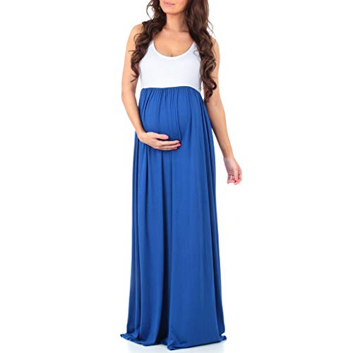 Women's Sleeveless Ruched Color Block Maxi Maternity Dress - Made in USA Royal -