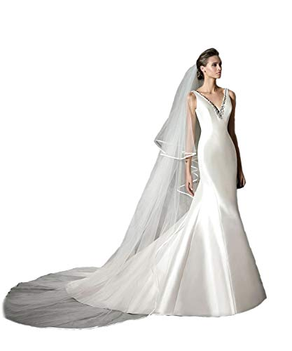 Passat Pale Ivory 2 Tiers 3M Cathedral 1/4'' Ribbon Edge Plus Size 3M Cathedral Wedding Bridal Veil 212
