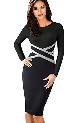HOHONG Women Black Long Sleeve Sheath Dress Round Neck Bodycon Dress (Hohong Ltd)