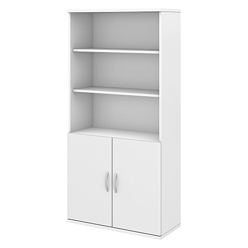 Bush Business Furniture Studio C 5 Shelf Bookcase with Doors in White by Bush Business Furniture