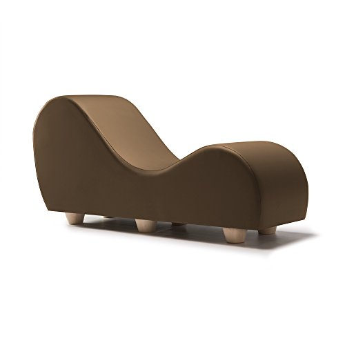 Liberator Kama Sutra Chaise Lounge Chair - Premium Faux Leather w/ Maple Wood Feet, Taupe by Liberator