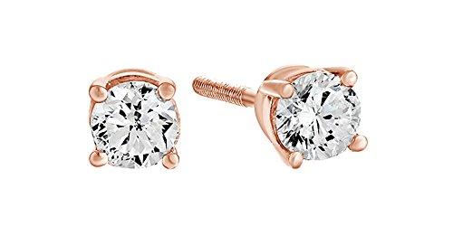 10K Solid Rose Gold Natural Diamond Solitaire Stud Earrings With Screw Back (0.5 Ct) Free & Fast Shipping Diamond Solid 14k Gold Stud