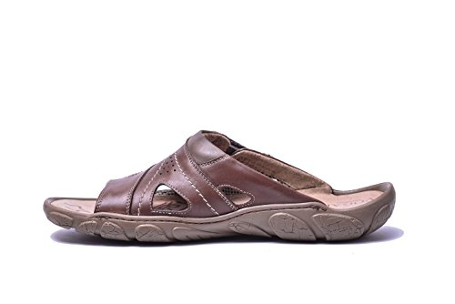 Summer Mens Leather Shoes Brown Beach Flat Vogar Slip On Sandals VG1128 BIqPdndtf