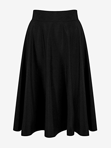 PERSUN Women's Basic Flared High Waist A-Line Midi Skater Skirt (1X, Black)