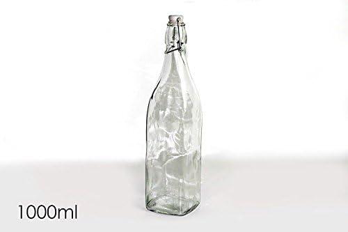 Vily's House Botella de Cristal Transparente con Forma Cuadrada con Cierre Tipo Clip de 1 litro Capacidad (Set de 2 Botellas)