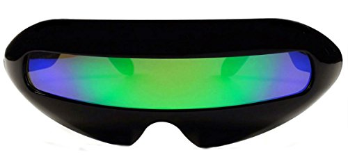 Futuristic Cyclops Mirror Single Lens Oval Sunglasses. (Deep Green - Sunglasses Cool Look