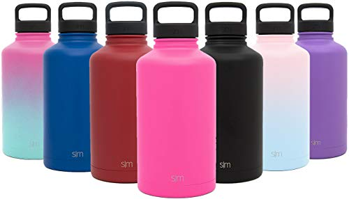 Simple Modern 40 oz Summit Water Bottle - Stainless Steel Metal Flask +2 Lids - Wide Mouth Double Wall Vacuum Insulated Pink Leakproof Thermos -Malibu - Modern Malibu Metal