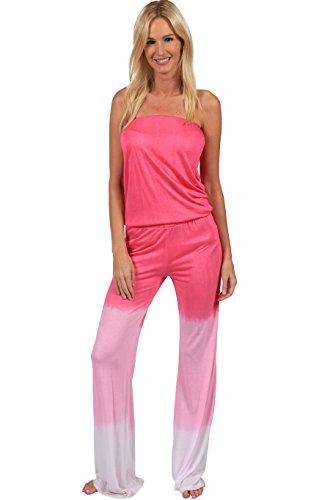 Ingear Summer Jumper Long Tie Dye Strapless Beach Romper Playsuit Jumpsuit (Medium, Pink) (One Piece Jumper)