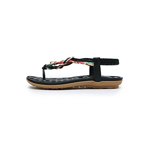 Versione Shoes Nero Bohemian Flat Student Open Retro Bottom Female Toed Sandali Coreana Summer Rome Beach 0OpRqR6