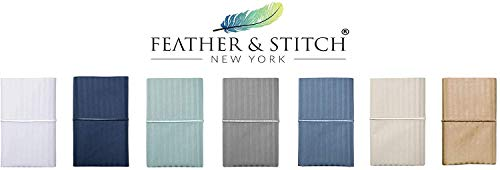 Feather & Stitch 500 Thread Count 100% Cotton Sheet Set, Stripe Sheets, Soft Sateen Weave,Cal King Sheets, Deep Pockets,Hotel Collection,Luxury Bedding Super Sale (Cal King Grey)