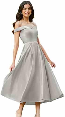 fc4bb218fd2 Women s Off The Shoulder Beaded Satin Tea Length Prom Dress Short  Homecoming Dresses